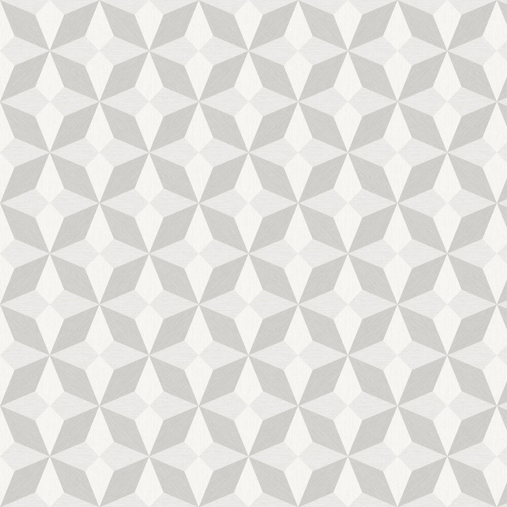 Faux Grasscloth Geo Wallpaper - White and Silver - by Albany
