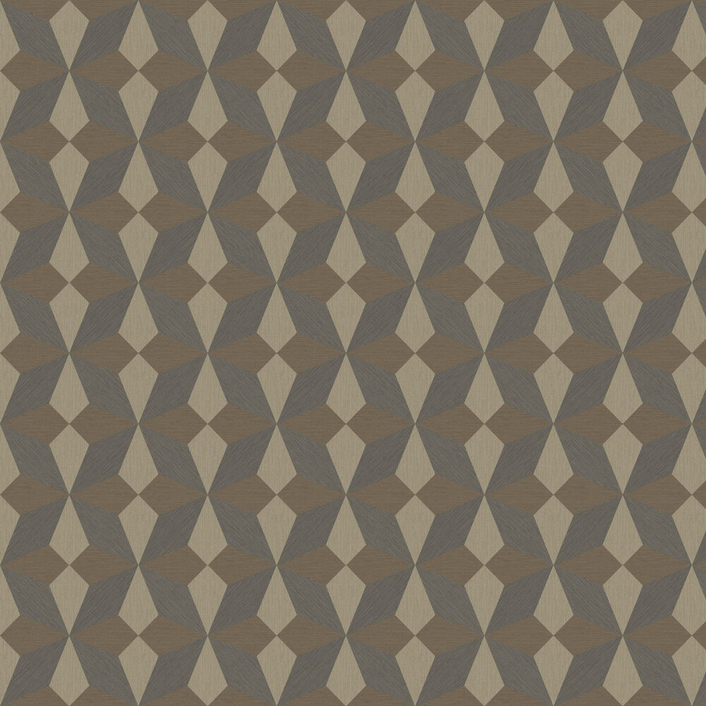 Faux Grasscloth Geo Wallpaper - Taupe and Black - by Albany