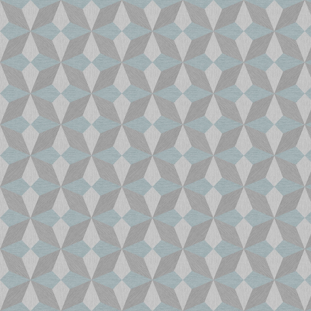 Albany Faux Grasscloth Geo Blue and Silver Wallpaper - Product code: CB41064