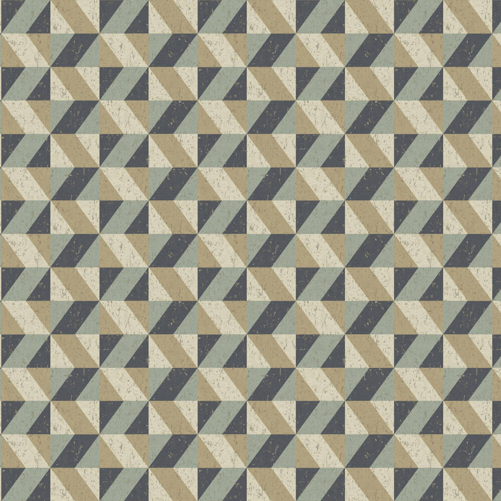 Cork Triangles Wallpaper - Blue and Gold - by Albany
