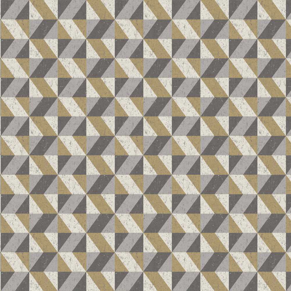 Cork Triangles Wallpaper - Grey and Gold - by Albany