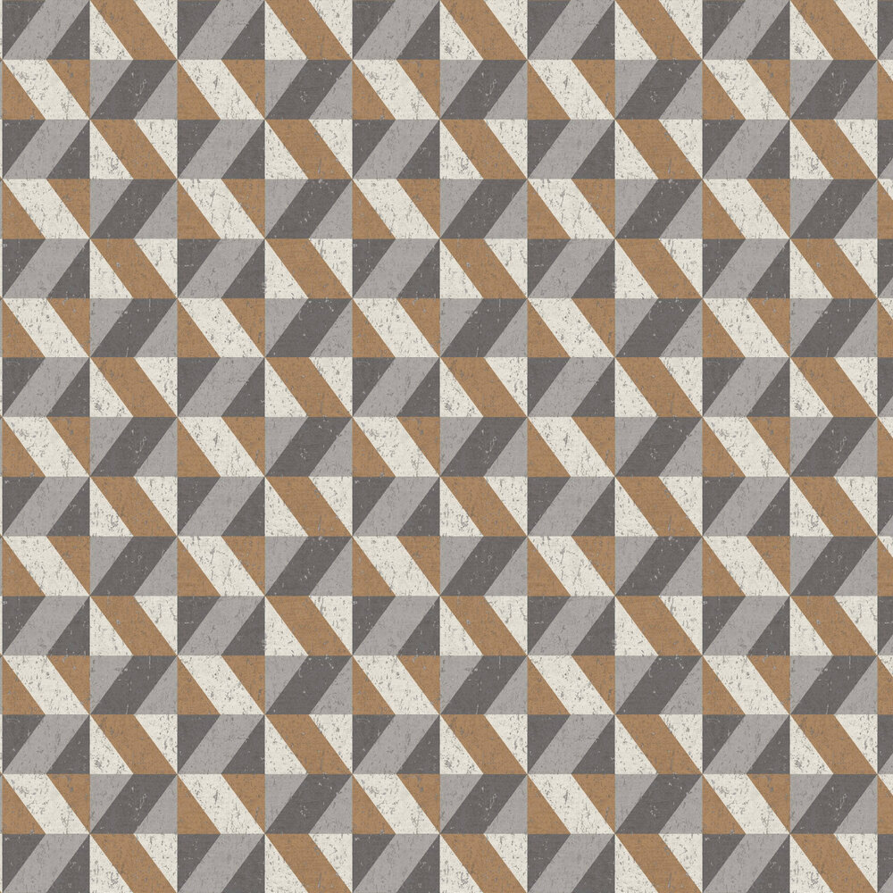 Cork Triangles Wallpaper - Copper and Grey - by Albany