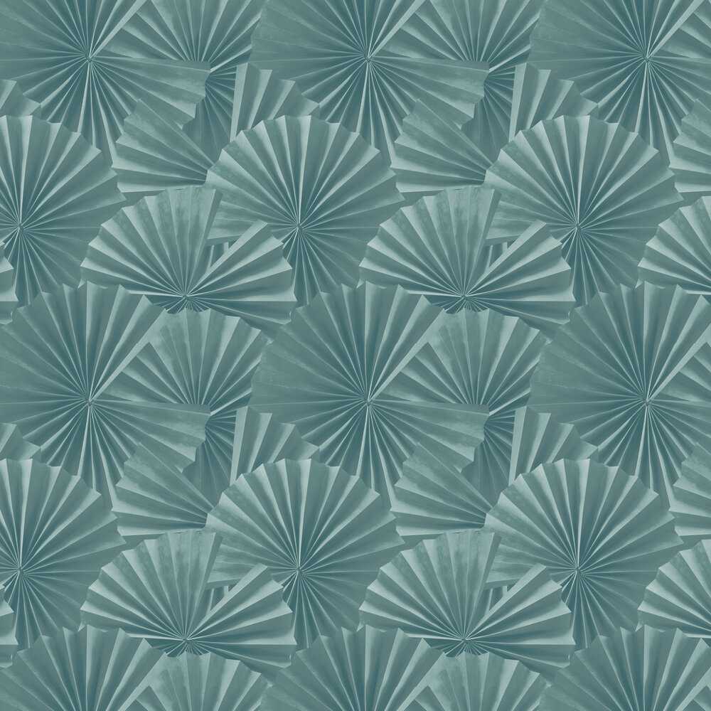 Fan Wallpaper - Teal - by Hooked on Walls