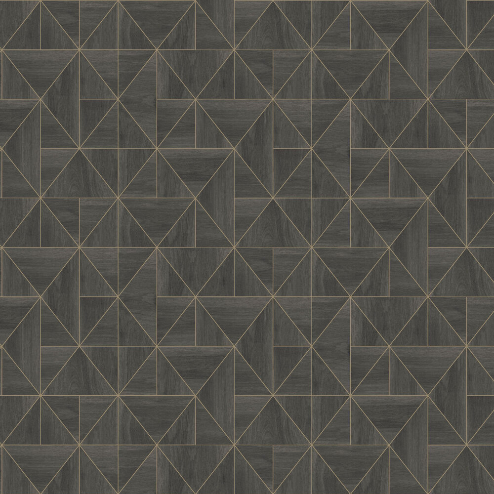 Diamond Wood Wallpaper - Black and Gold - by Albany