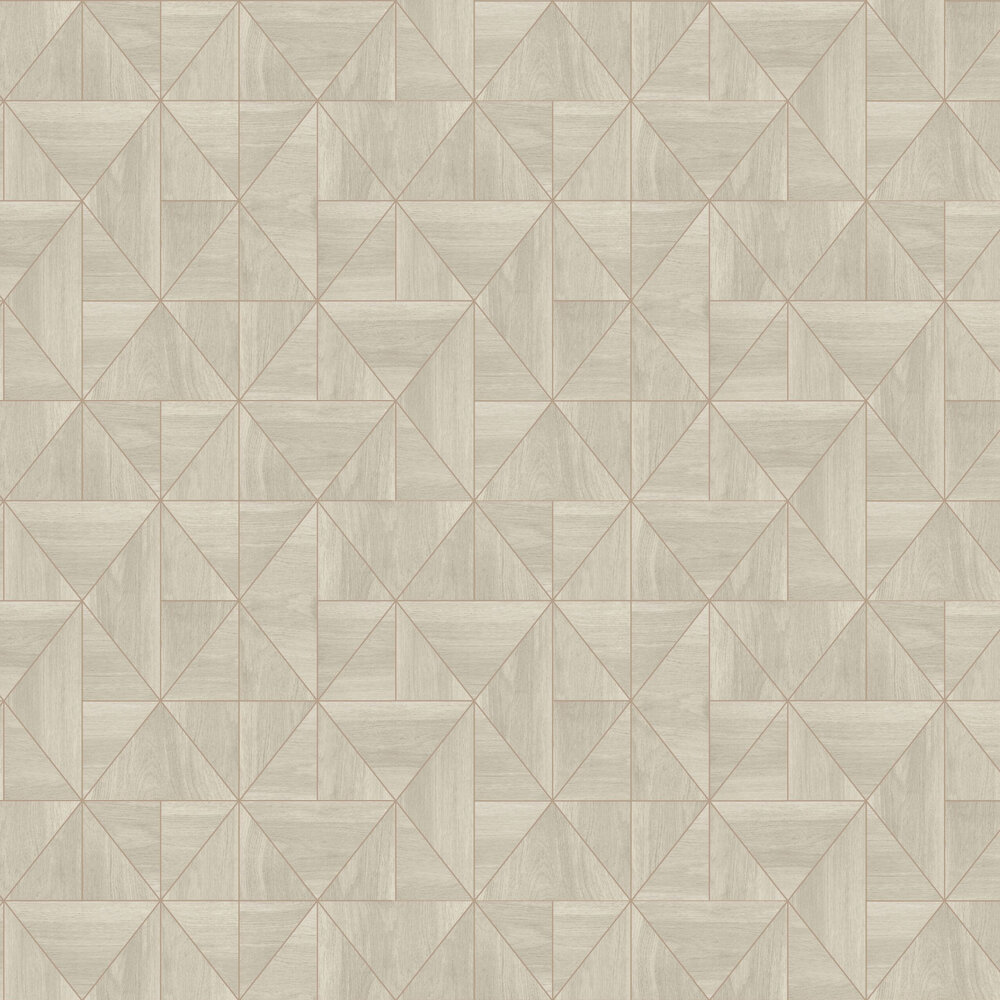 Diamond Wood Wallpaper - Light Natural and Rose Gold - by Albany