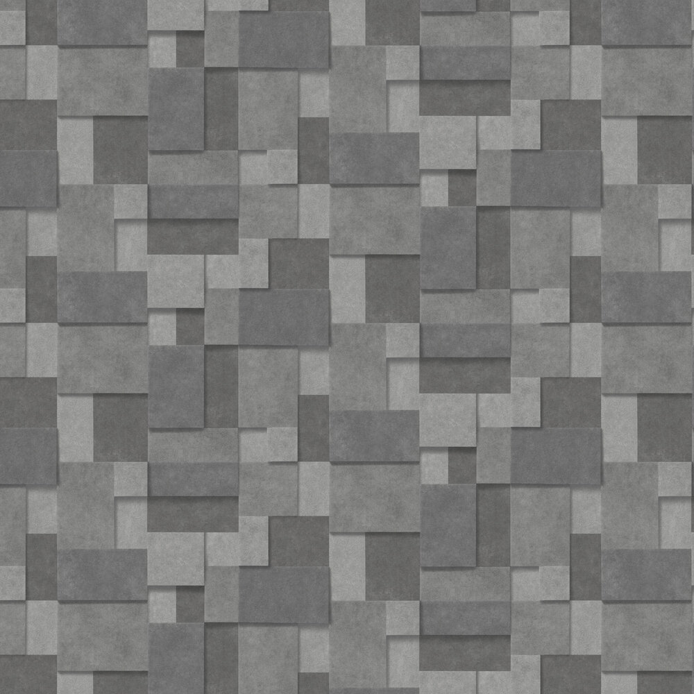 Metallic Squares Wallpaper - Dark Silver - by Albany