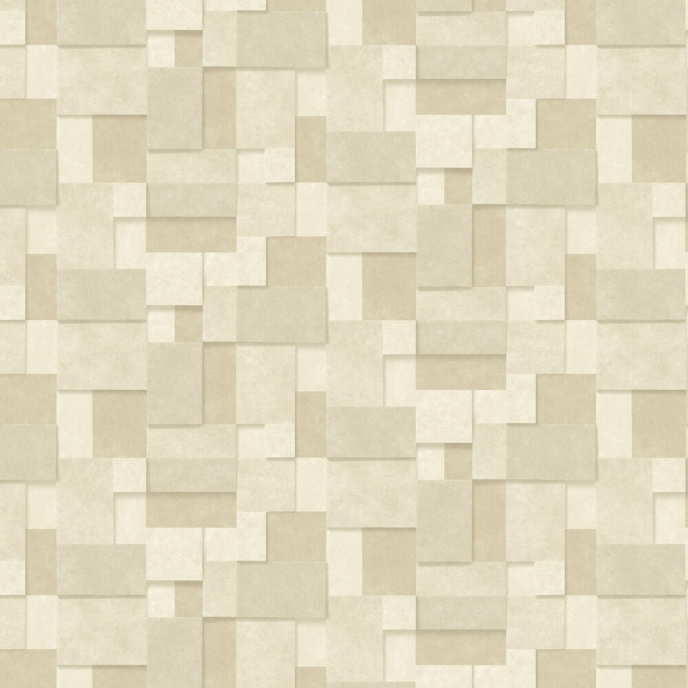 Metallic Squares Wallpaper - Cream and Gold - by Albany