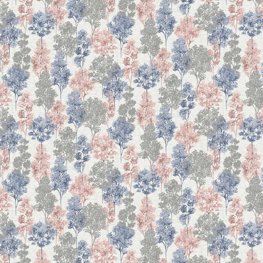 Whinfell Wallpaper - Navy & Coral - by Albany