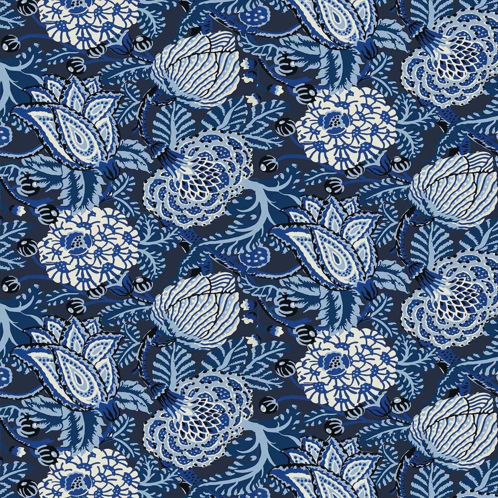Mitford Wallpaper - Navy - by Thibaut