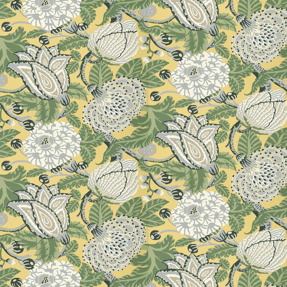Mitford Wallpaper - Yellow - by Thibaut