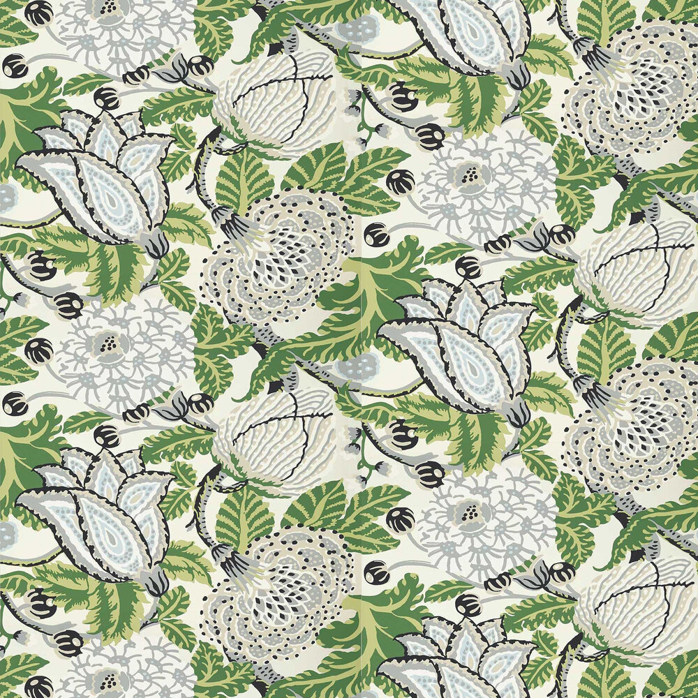 Mitford Wallpaper - Green / White - by Thibaut