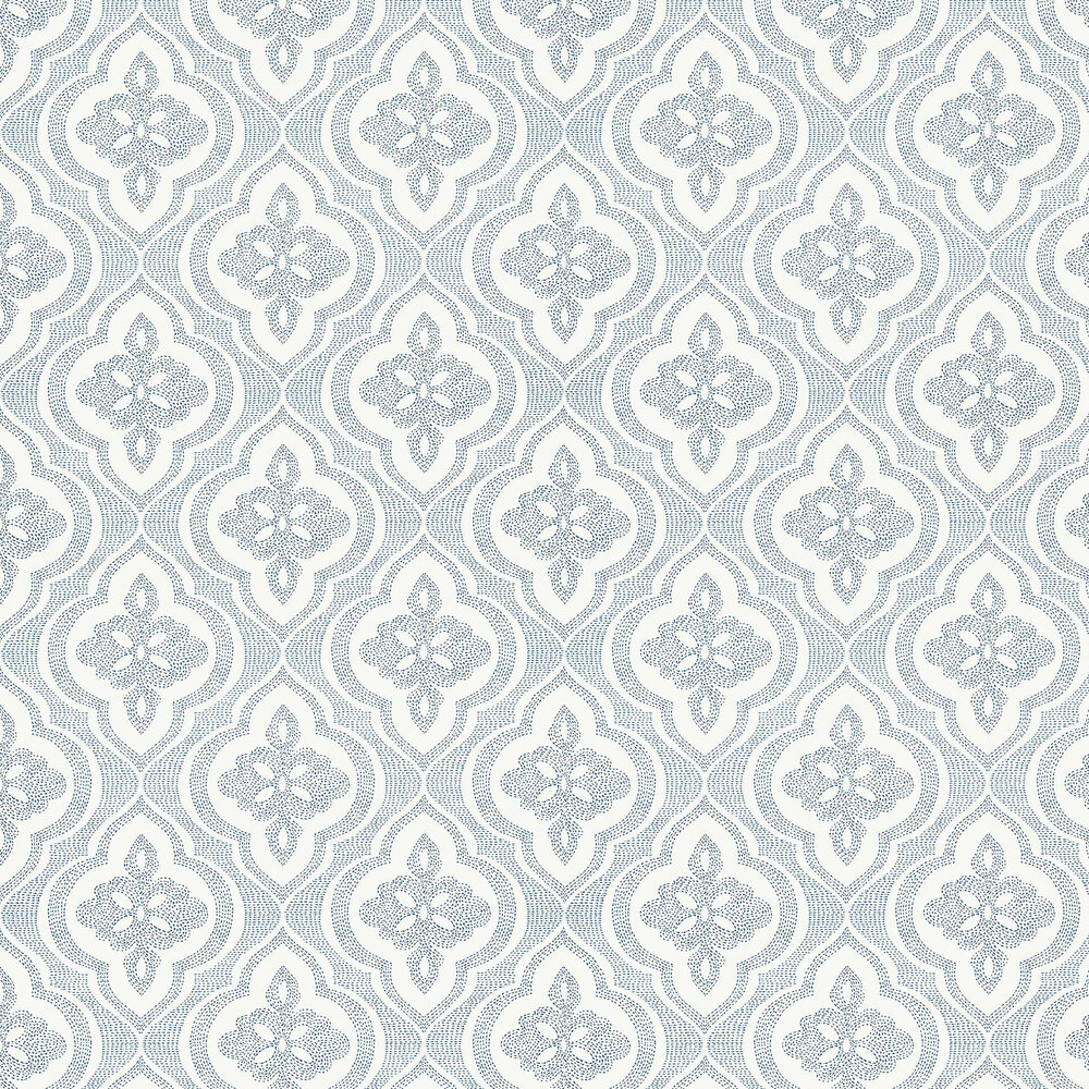 Ophelia Wallpaper - Navy - by Thibaut