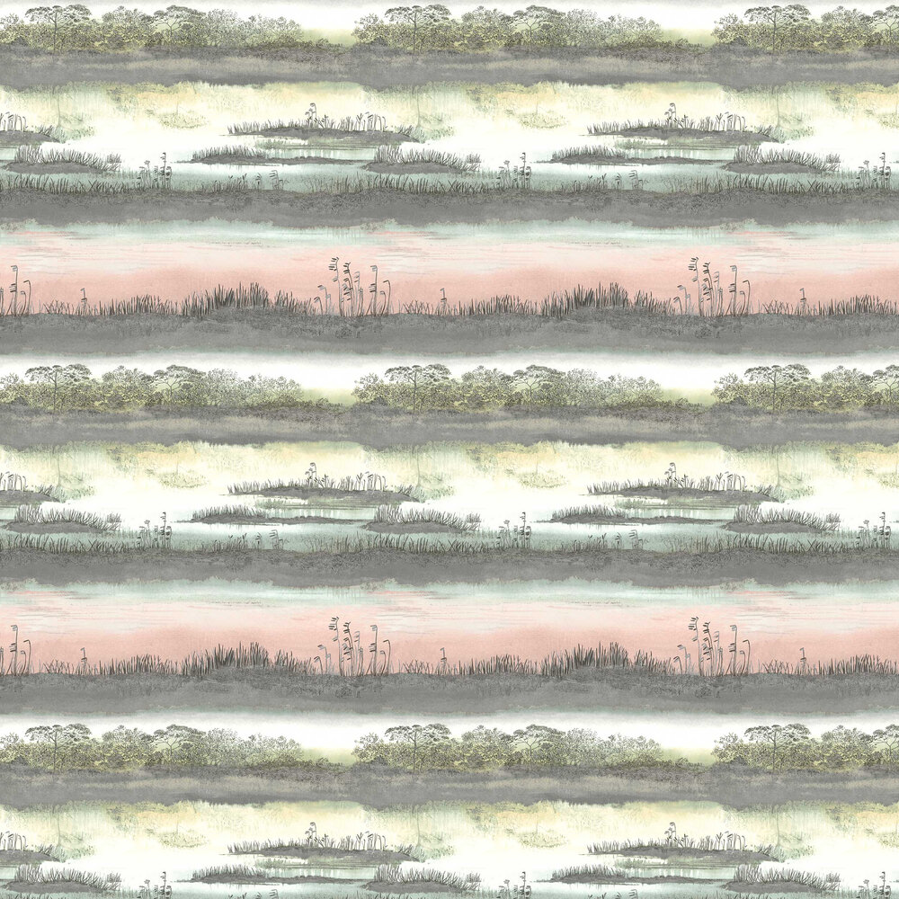 Aaru Wallpaper - Soft Pink & Teal - by Albany