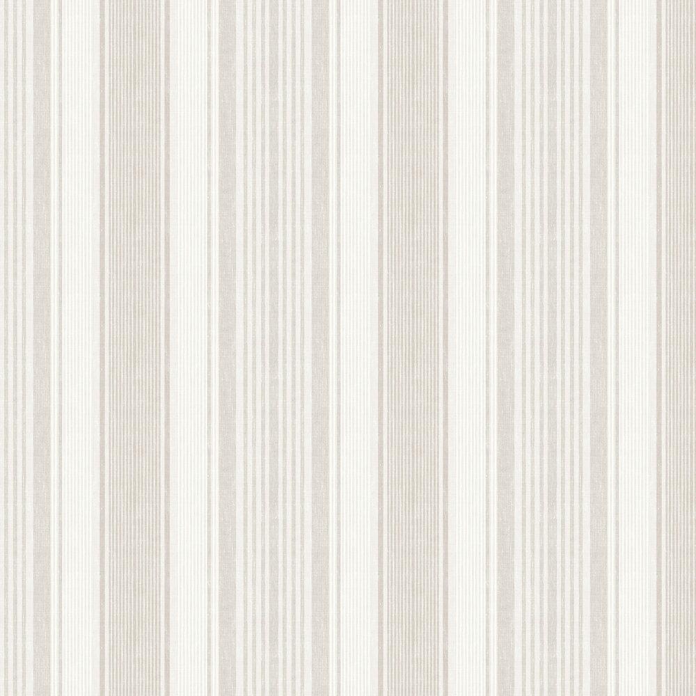 Linen Stripe Wallpaper - Beige and Ivory - by Boråstapeter