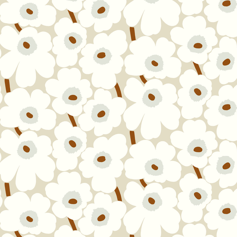 Unikko Wallpaper - Cream - by Marimekko