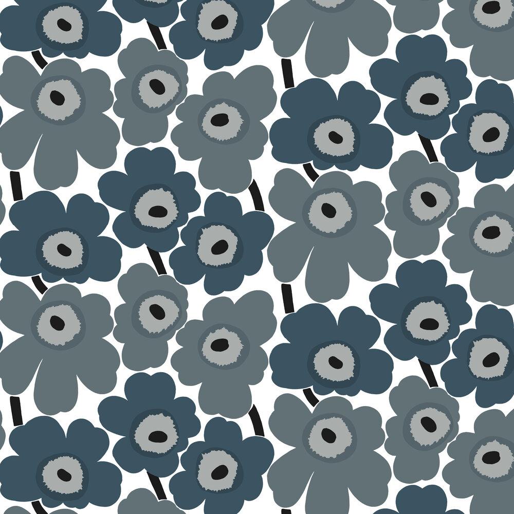 Unikko Wallpaper - Steel Blue - by Marimekko