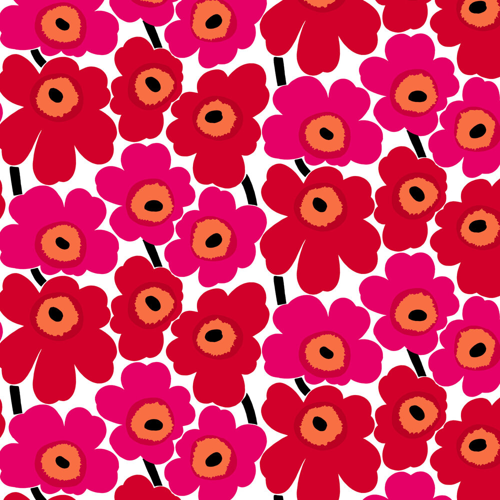 Marimekko Unikko Red / Pink Wallpaper - Product code: 23354