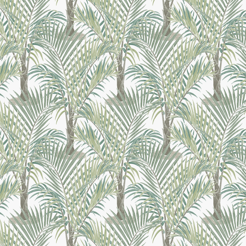 Palma Wallpaper - Green / White - by Hooked on Walls