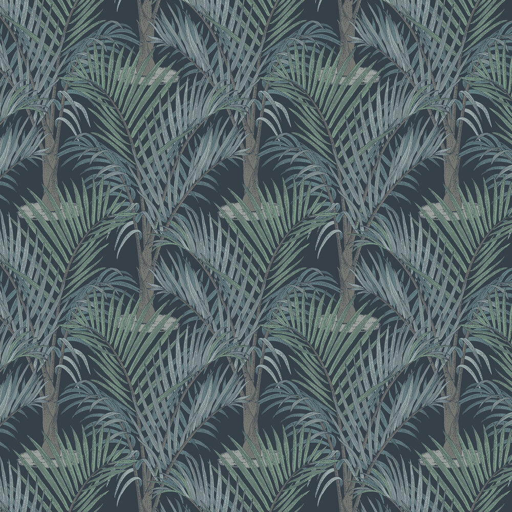 Palma Wallpaper - Dark Blue - by Hooked on Walls