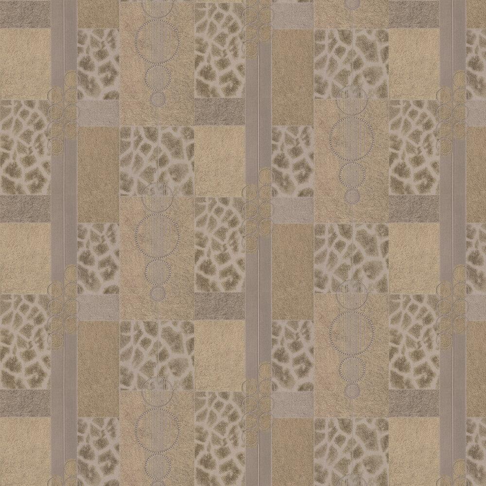 Serengeti Faux Fur Wallpaper - Gold/ Light Coffee - by Albany