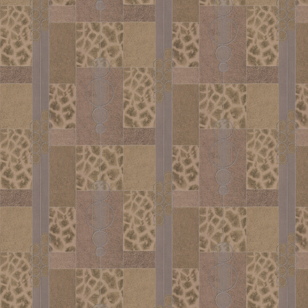 Serengeti Faux Fur Wallpaper - Gold/ Dark Coffee - by Albany