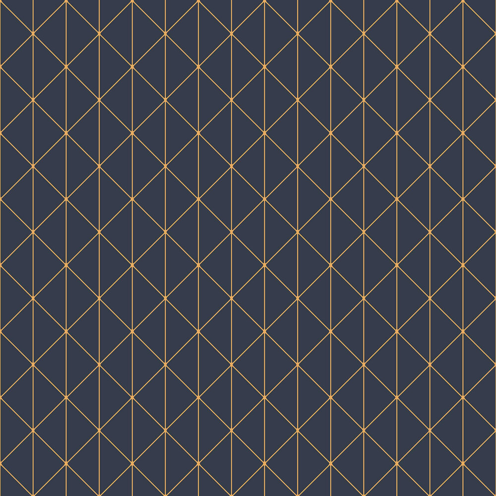 Diamonds Wallpaper - Dark Blue and Gold - by Engblad & Co