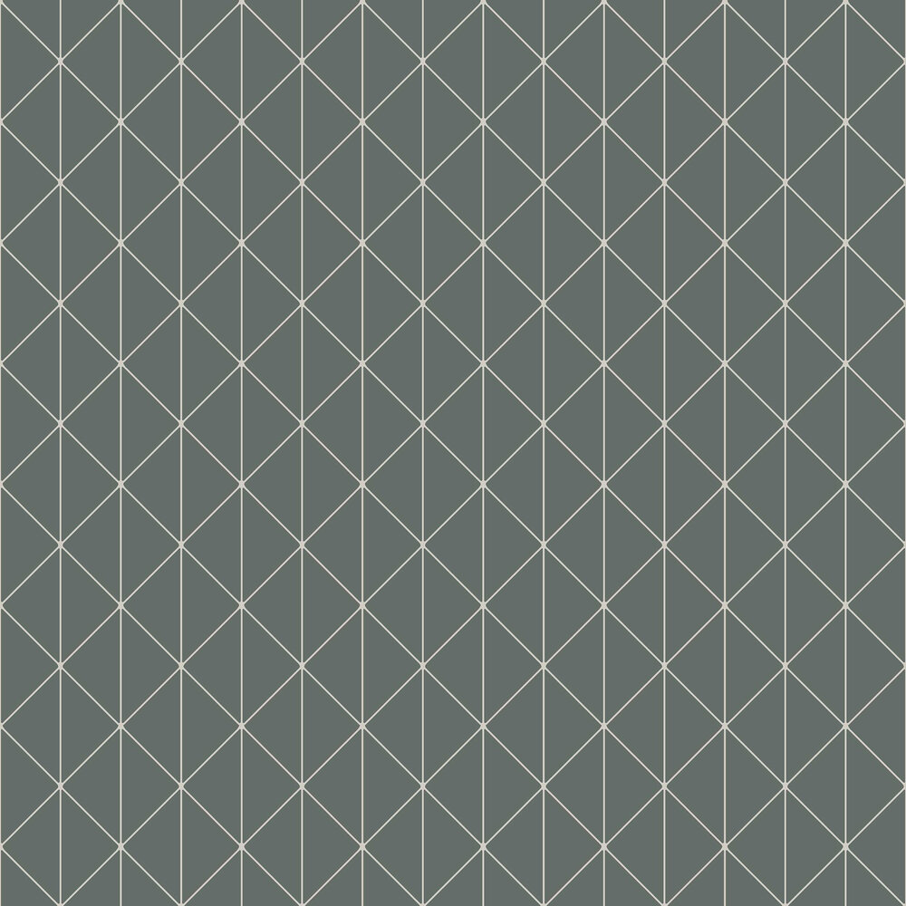 Diamonds Wallpaper - Green and Silver - by Engblad & Co