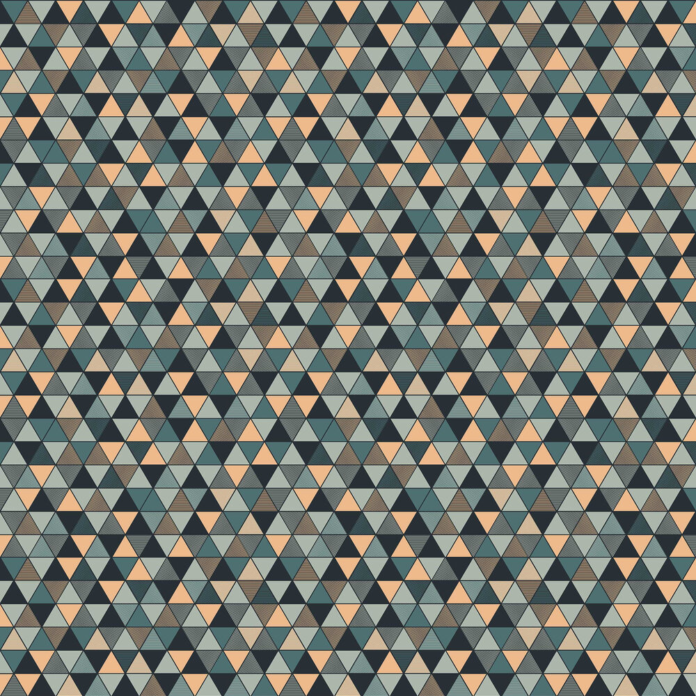Triangular Wallpaper - Black, Blue and Gold - by Engblad & Co