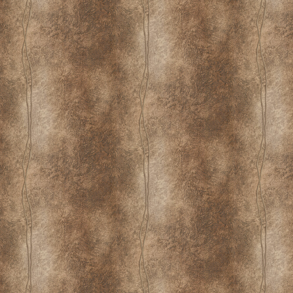 Fur Line Effect Wallpaper - Gold/ Dark Brown - by Albany