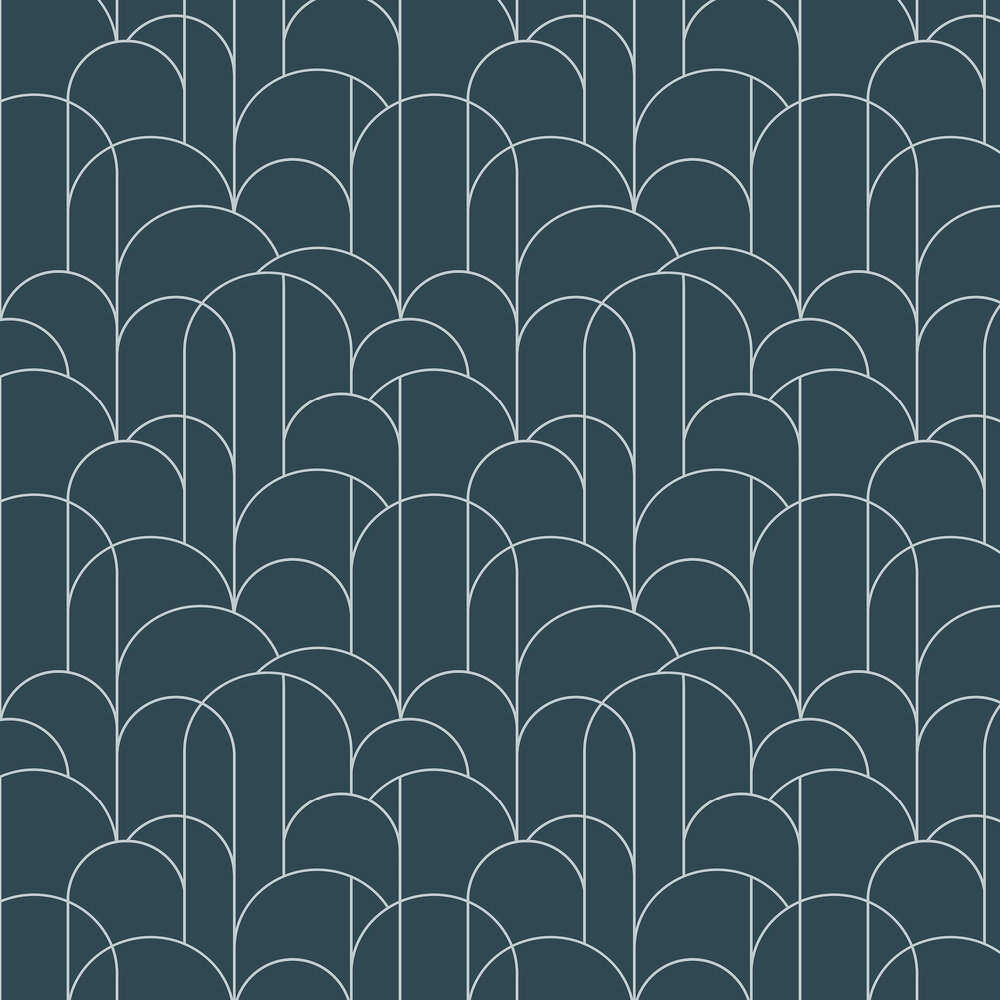 Engblad & Co Arch Blue and Silver Wallpaper - Product code: 8825