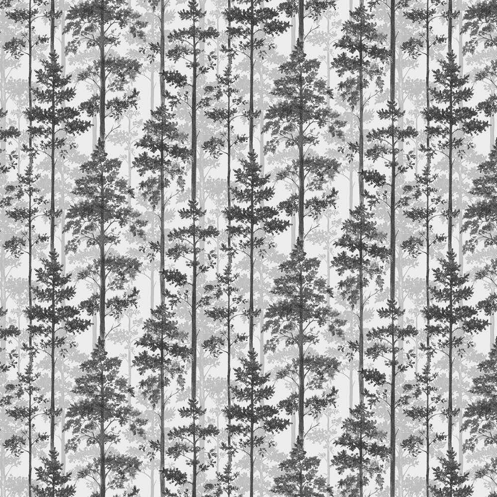 Pine Wallpaper - White, Grey and Black - by Engblad & Co