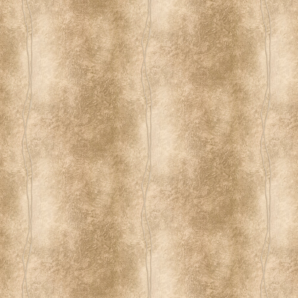 Fur Line Effect Wallpaper - Gold and Coffee - by Albany