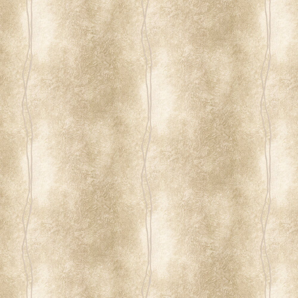 Fur Line Effect Wallpaper - Gold/ Beige - by Albany