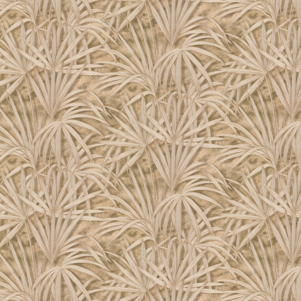 Palm Tree Effect Wallpaper - Gold/ Coffee - by Albany
