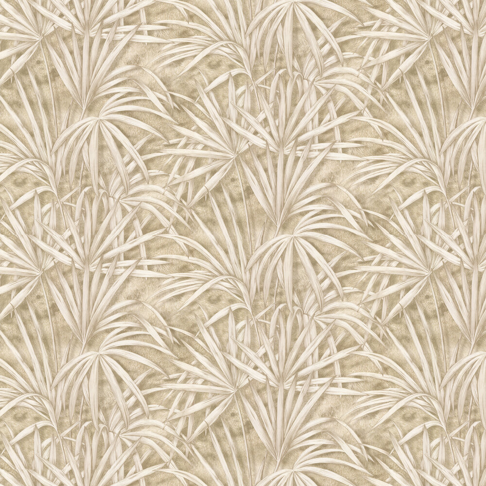 Palm Tree Effect Wallpaper - Gold/ Beige - by Albany