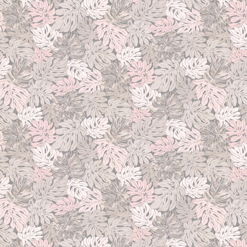 Jungle Print Wallpaper - Grey and Pink - by Galerie