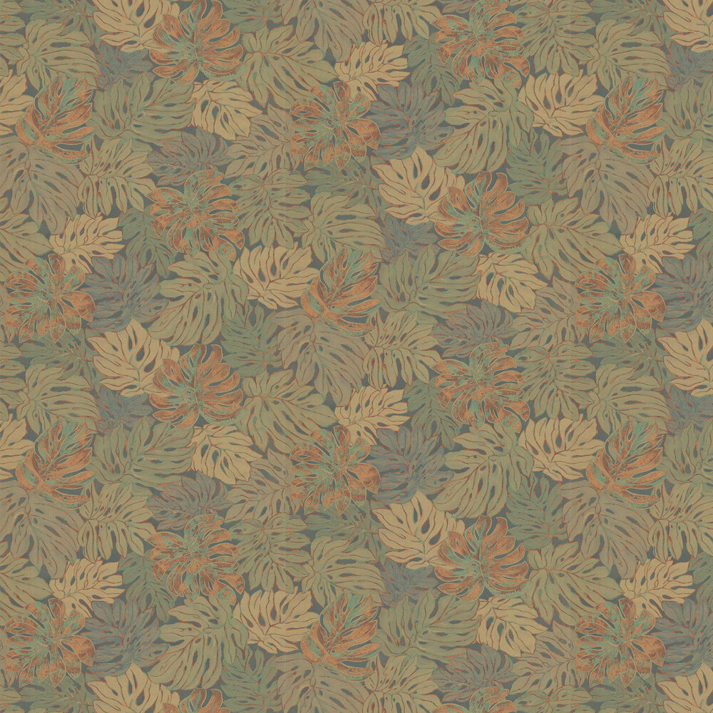 Jungle Print Wallpaper - Green and Copper - by Galerie