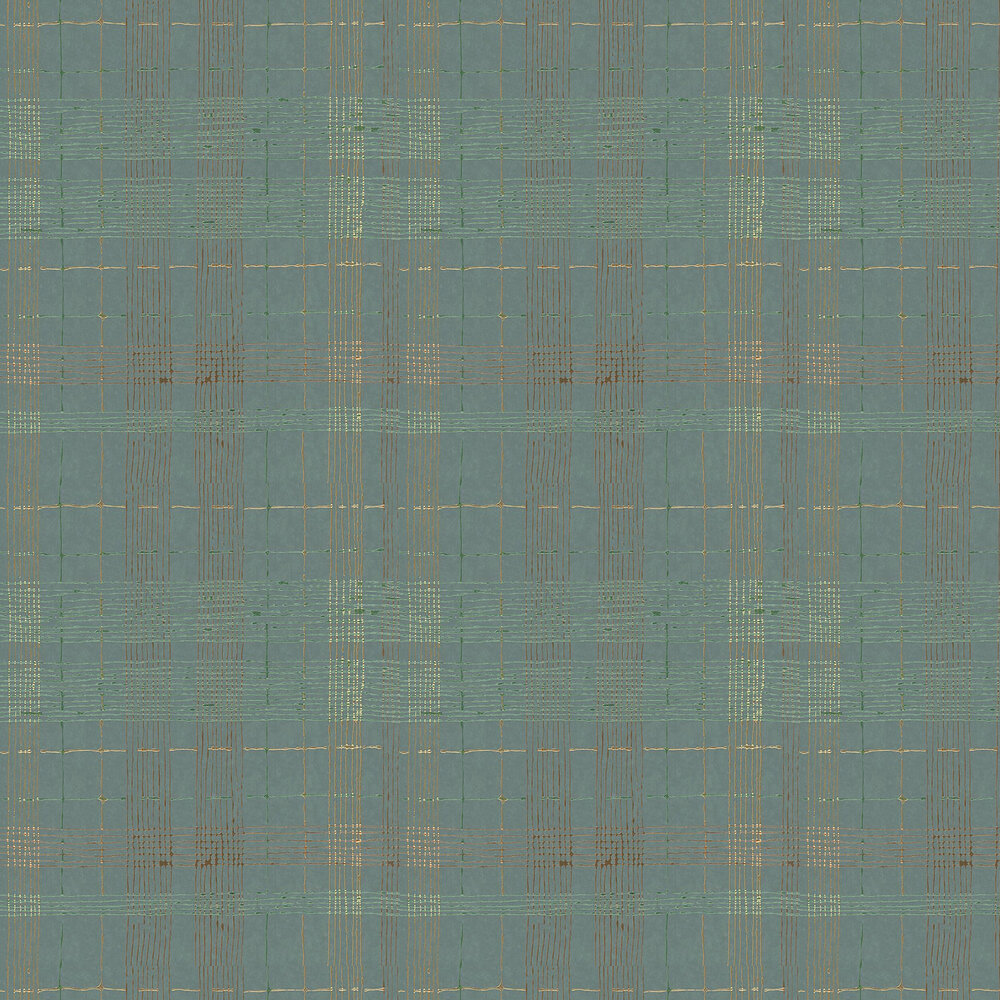 Plaid Wallpaper - Green and Copper - by Galerie