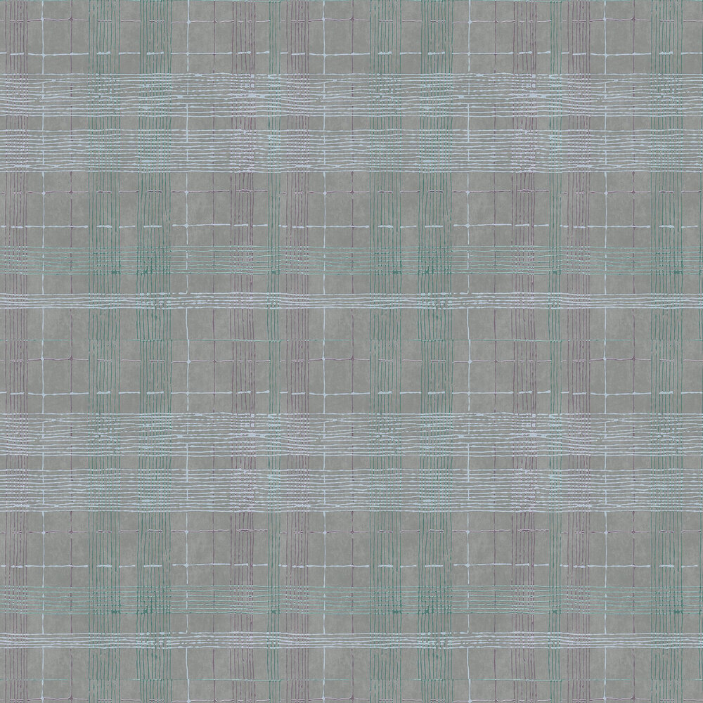 Plaid Wallpaper - Grey and Aqua - by Galerie