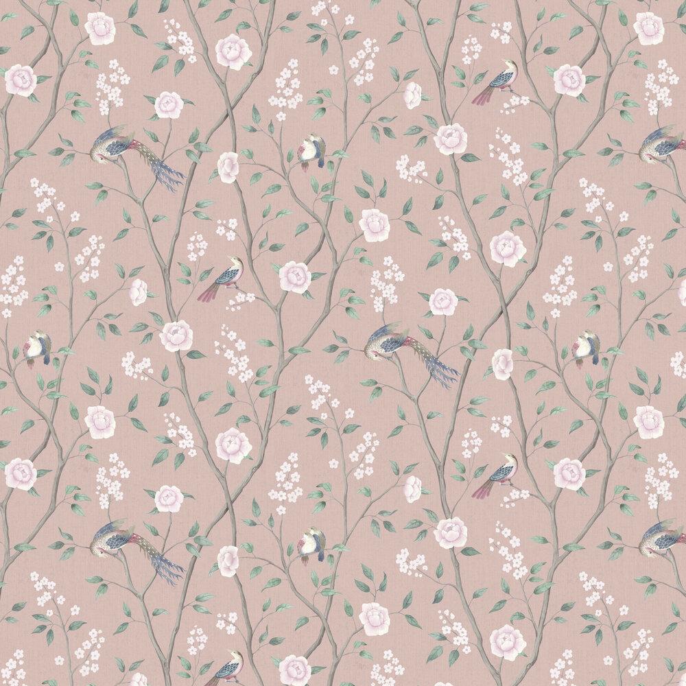 Paradise Birds Wallpaper - Pink - by Boråstapeter