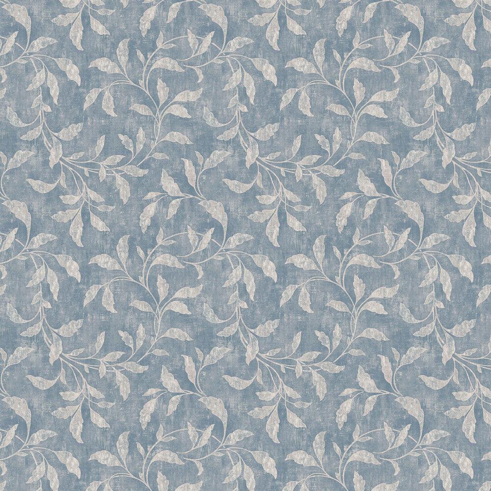 Rosewood Night Wallpaper - Blue & Beige - by Boråstapeter
