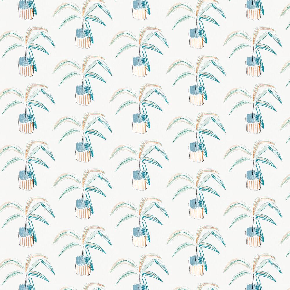 Crassula Wallpaper - Tangerine / Mint - by Scion