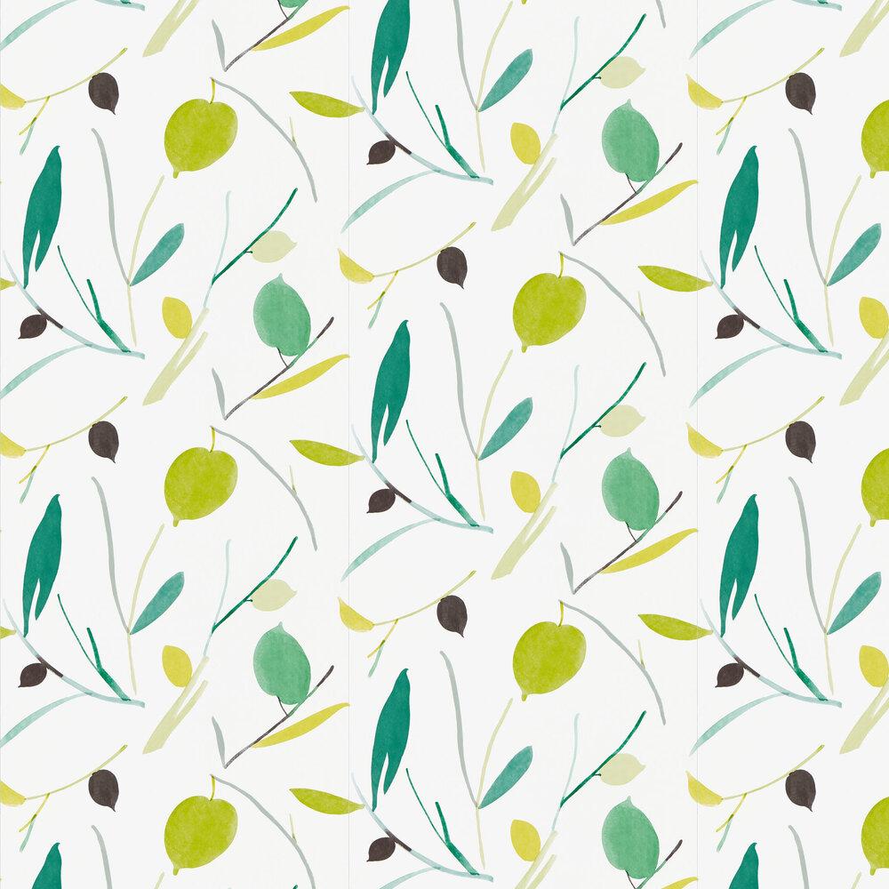 Oxalis Wallpaper - Kiwi / Juniper - by Scion