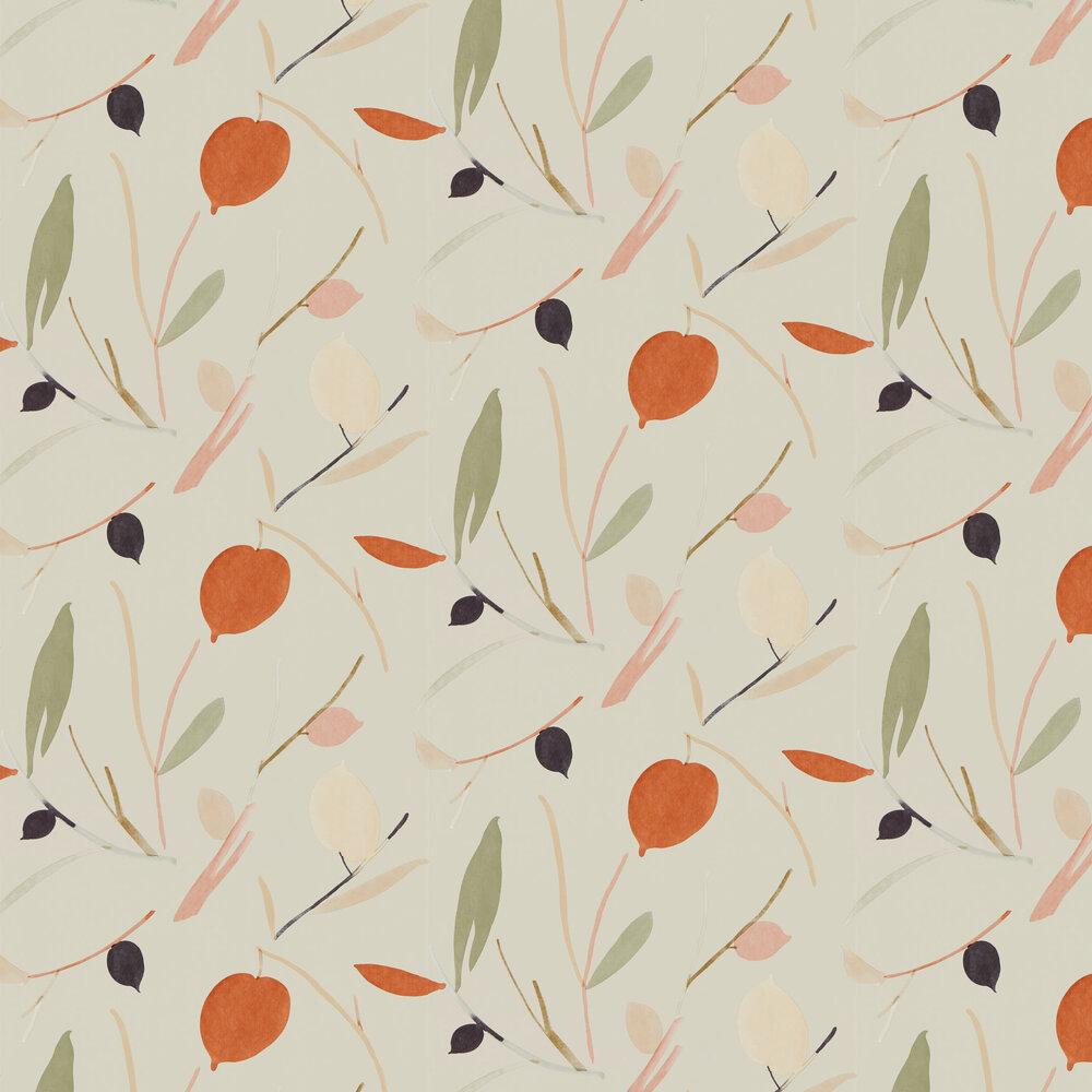 Oxalis Wallpaper - Spice / Raffia - by Scion