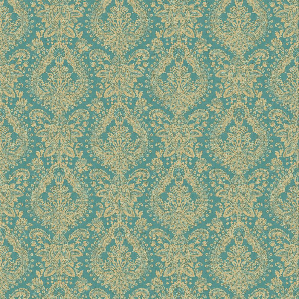 Boudoir Medallion Wallpaper - Blue & Green - by Boråstapeter