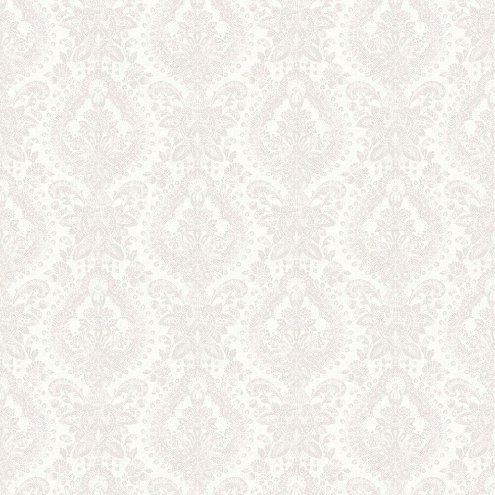Boudoir Medallion Wallpaper - White - by Boråstapeter
