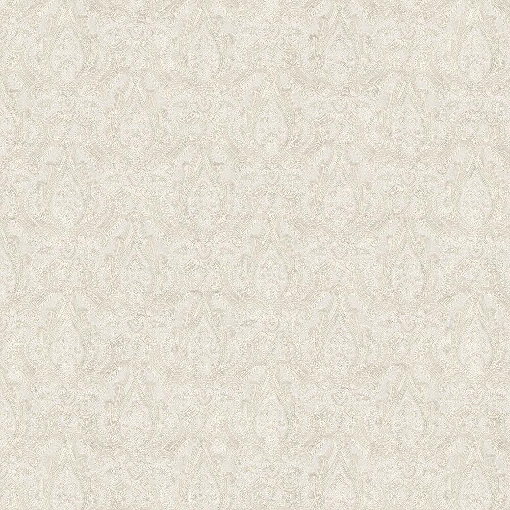 Divine Paisley Wallpaper - Beige and White - by Boråstapeter