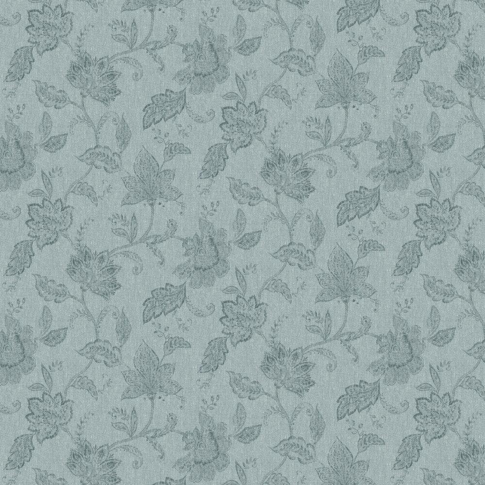 Indigo Bloom Wallpaper - Green - by Boråstapeter