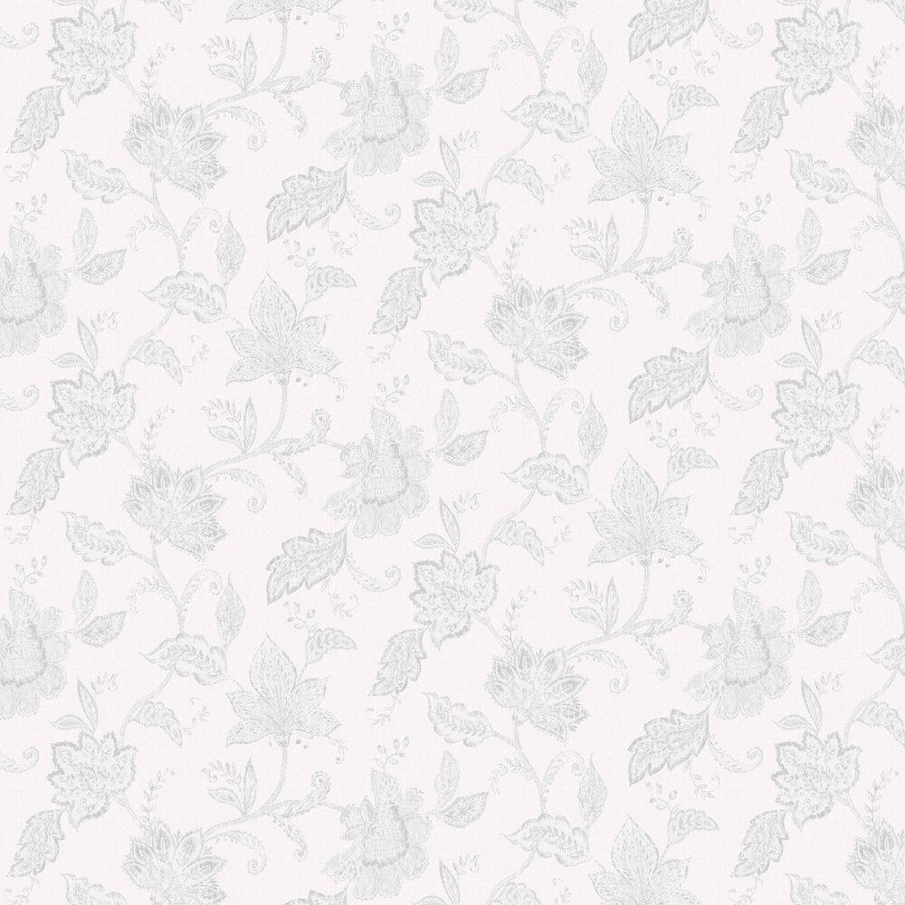 Indigo Bloom Wallpaper - White & Black - by Boråstapeter