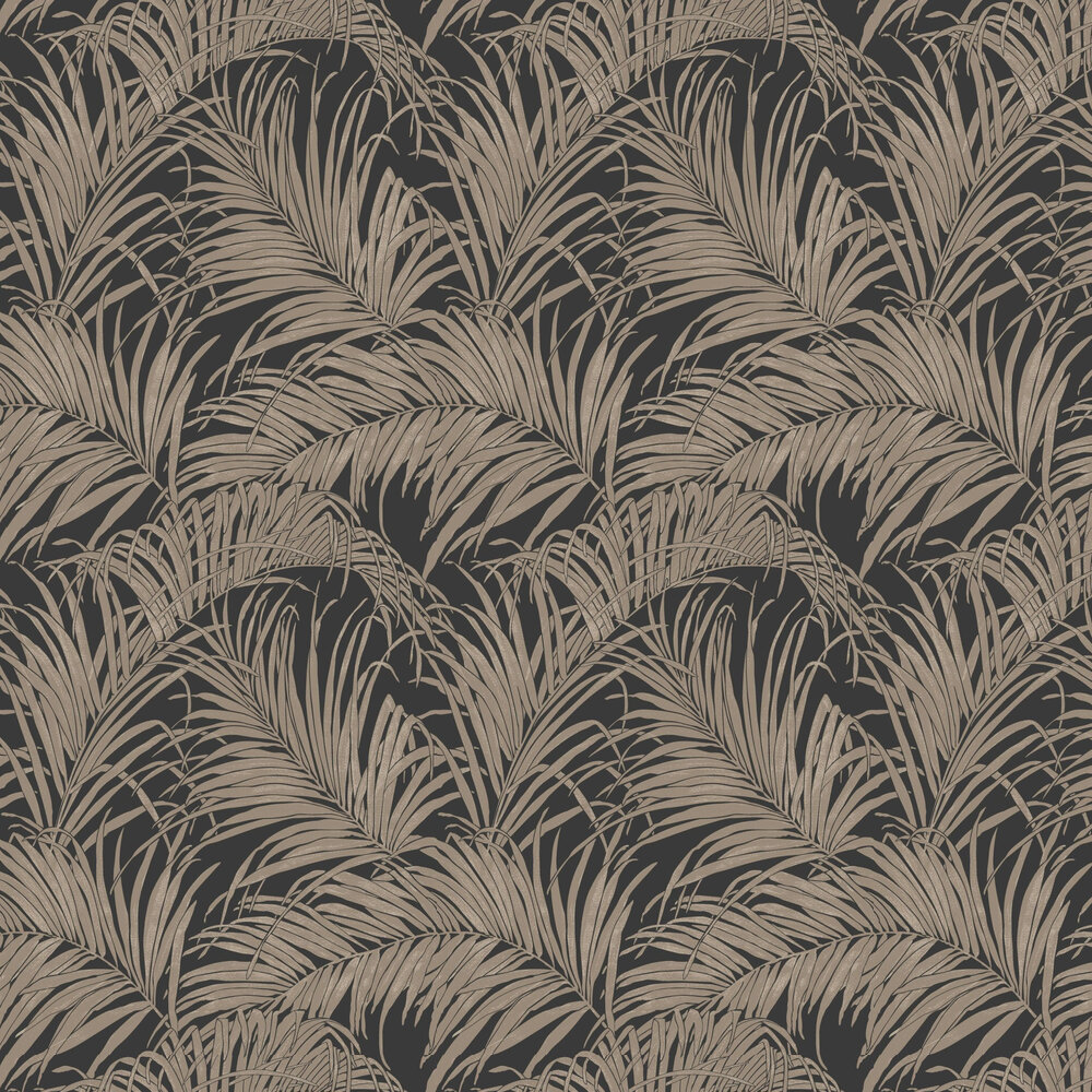 Palm Kiss Foil Wallpaper - Black / Bronze - by Arthouse